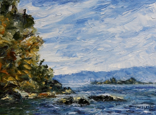 Navy Channel early October 9 x 12 inch oil on canvas by Terrill Welch 2012_10_25 019