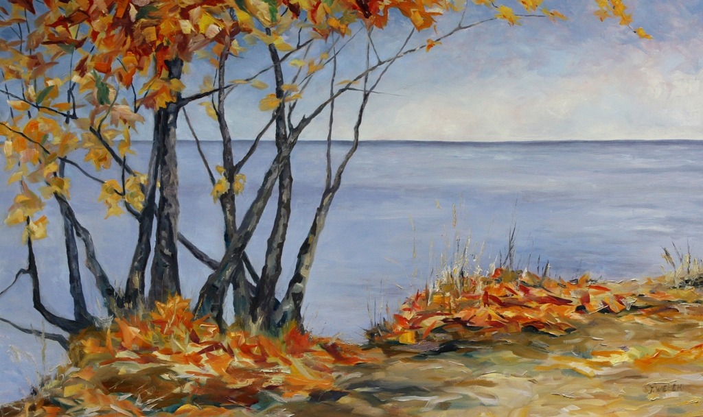 Large autumn landscape oil painting canadian for Fall paintings easy