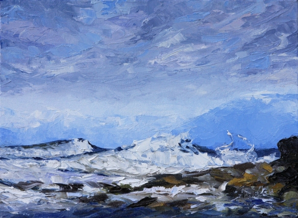 West Coast Blues study resting 12 x 16 inch oil on canvas by Terrill Welch SOLD 2013_03_04 020
