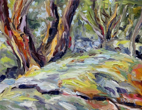 Arbutus by the Trail 8 x 10 inch oil on canvas by Terrill Welch Canadian Contemporary Artist