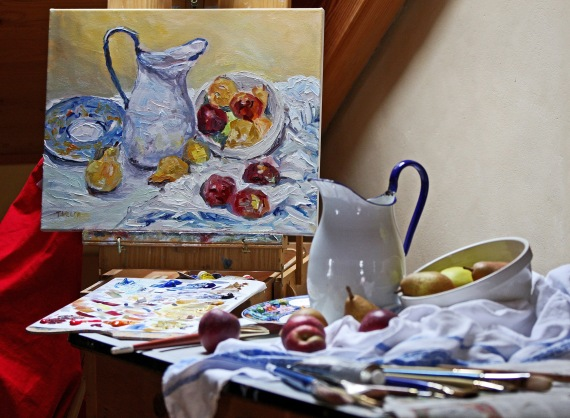 Still Life Pitcher Apples Pears in the Studio by Terrill Welch 2013_10_20 055
