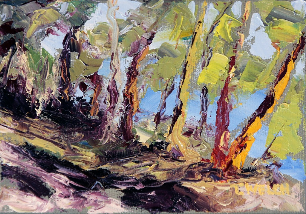 Through The Trees 5 X 7 Inch Oil On Canvas By Terrill Welch 2013 12 04 431