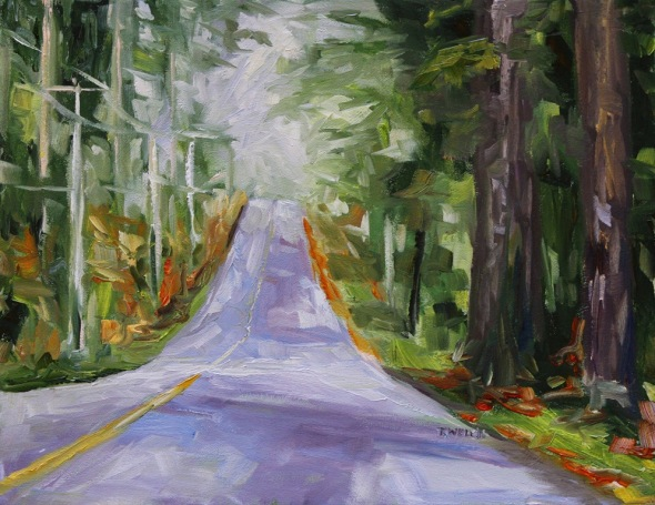 West Coast Island Road in October 14 x 18 inch oil on canvas by Terrill Welch 2013_12_03 022