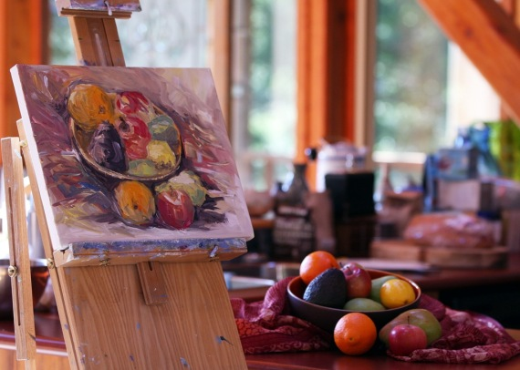 bowl of winter fruit still life painting in kitchen by Terrill Welch 2014_02_05 032