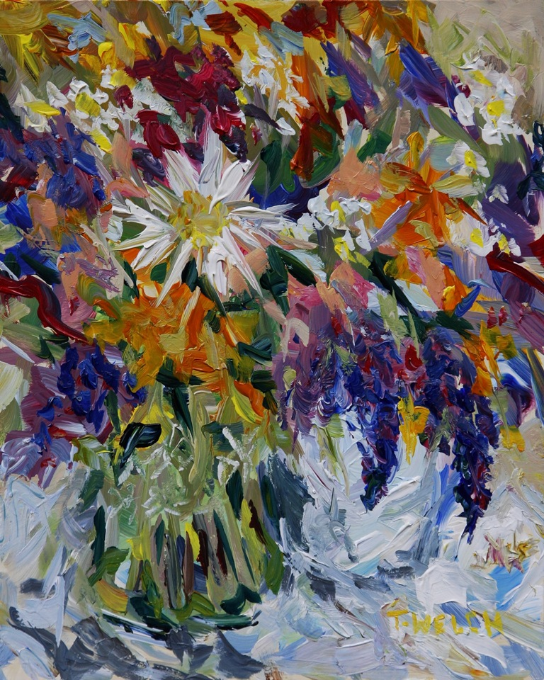 Releasing two new oil paintings by terrill welch for Floral acrylic paintings