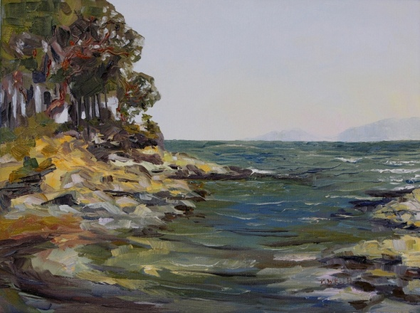 Oyster Bay Late July 12 x 16 inch plein air oil on canvas by Terrill Welch 2014_08_08 060