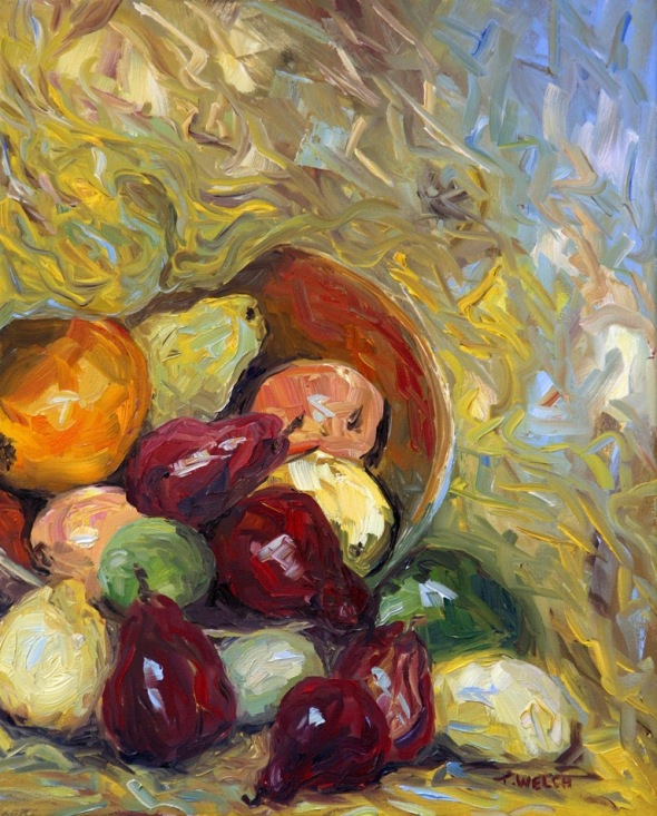Tumbling Red Pears 20 x 16 inch oil on canvas  by Terrill Welch 2014_08_01 030