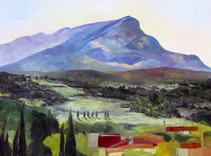 Morning with Cezanne's Mountain 18 x 24 inch oil on canvas by Terrill Welch Montagne Sainte-Victoire 2014_09_15 041