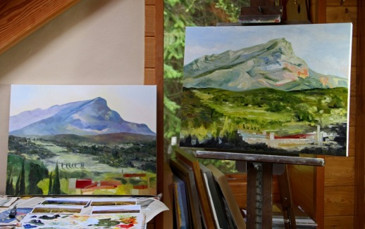 on the easel Evening  with Cezanne's Mountain 18 x 24 inch oil on canvas by Terrill Welch 2014_08_31 111