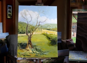 The Olive Tree in progress 5 40 x 30 inch oil on canvas by Terrill Welch 2014_10_03 005