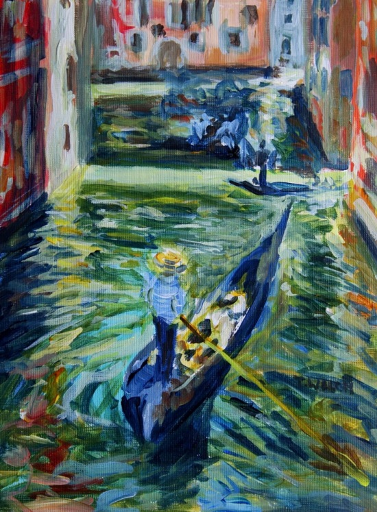 Afternoon canal watch in Venice Italy 18 x 24 cm acrylic painting sketch on linen finished paint block by Terrill Welch 2014_04_19 005