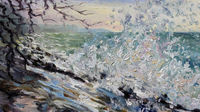 detail of WEST COAST EARLY EVENING WINTER SEA 16 x 20 inch by Terrill Welch 2015_01_01 253