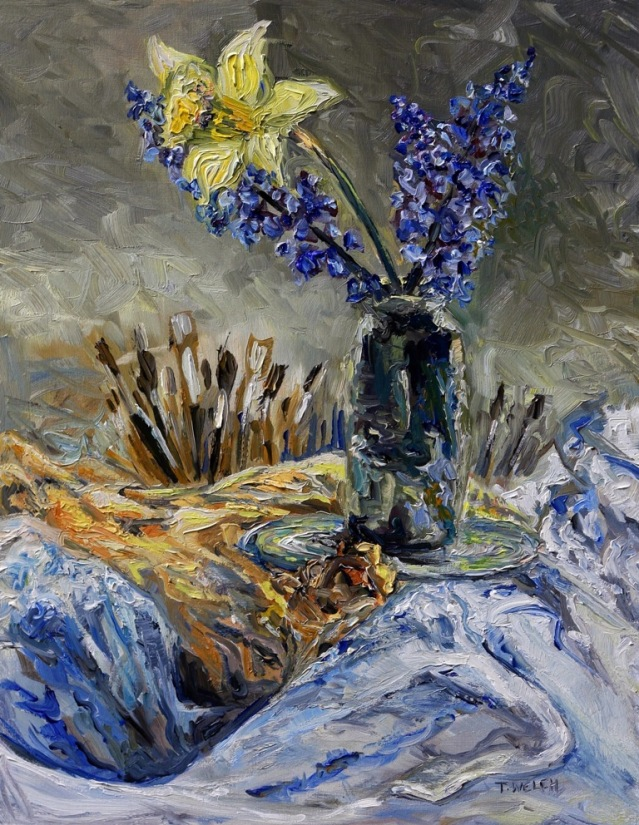 scent of hyacinths 18 x 14 inch walnut oil on wood by Terrill Welch 2015_03_17 033