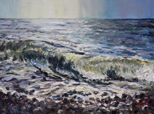 Sea and Stones French Beach 12 x 16 inch walnut oil on wood with 1.5 inc cradle by Terrill Welch 2015_02_01 067