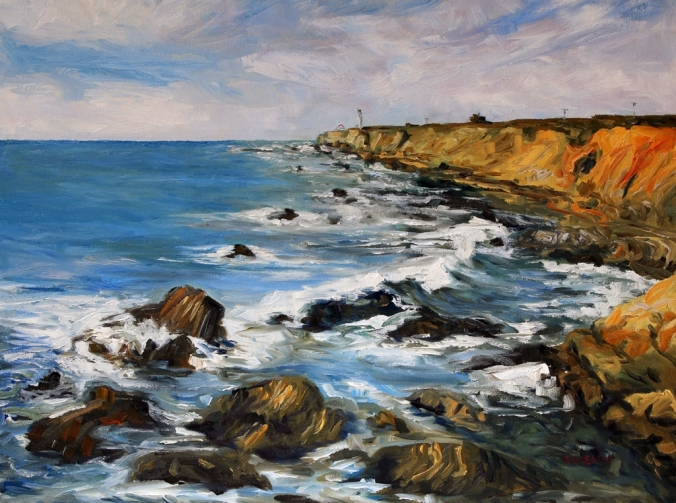 Early March at Arena Lighthouse California coast 18 x 24 inch walnut oil on canvas by Terrill Welch 2015_06_18 013