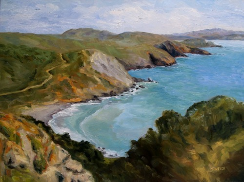 Early Spring Muir Beach Overlook California 18 x 24 inch oil on wood with 1.5 inch cradle by Terrill Welch 2015_04_27 057
