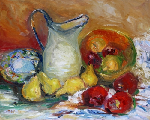 Pitcher Apples Pears revisited 16 x 20 inch oil on canvas by Terrill Welch 2015_06_18 025