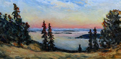 Sunset on Brown Ridge 10 x 20 inch walnut oil on wood by Canadian artist Terrill Welch 2015_07_17 080