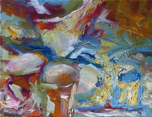 The Space of Dishes II 8 x 10 inch oil on canvas by Terrill Welch 2015_01_30 006