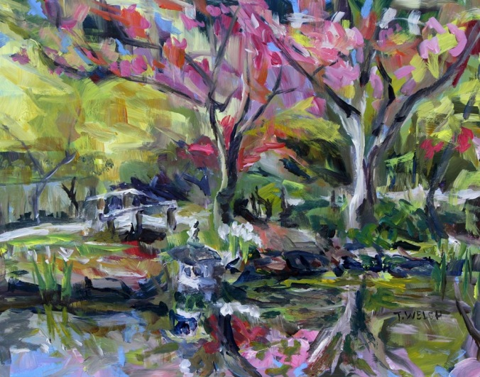 April in the Japanese Garden 11 x 14 inch acrylic painting sketch by Terrill Welch 2015_04_08 151