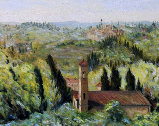 Bell Towers of Florence Countryside 16 x 20 inch walnut oil on canvas by Terrill Welch 2015_08_02 062