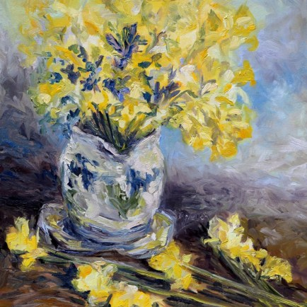 Suggestion of Daffodils 16 x 16 inch oil on canvas by Terrill Welch 2016-03-04 IMG_9076