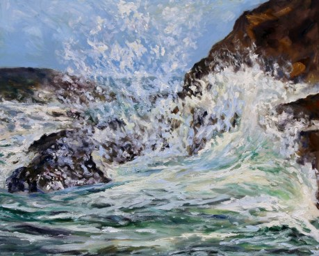 On the Rocks in Tofino 24 x 30 inch oil on canvas by Terrill Welch 2016-03-30 IMG_2079