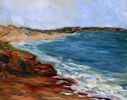 Shores of Cavendish in May PEI 8 x 10 inch acrylic plein air sketch on gessobord by Terrill Welch IMG_3821