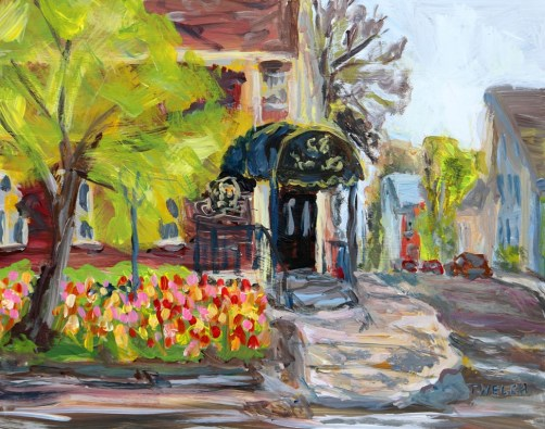 Tulips at The Great George Charlottetown PEI 8 x 10 inch plein air acrylic sketch on gessobord by Terrill Welch May 23 2016  IMG_4206