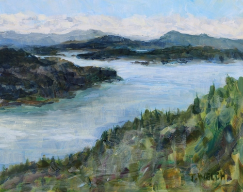 Inside Passage Navy Channel 8 x 10 inch acrylic plein air sketch by Terrill Welch 2016-03-05 IMG_9159