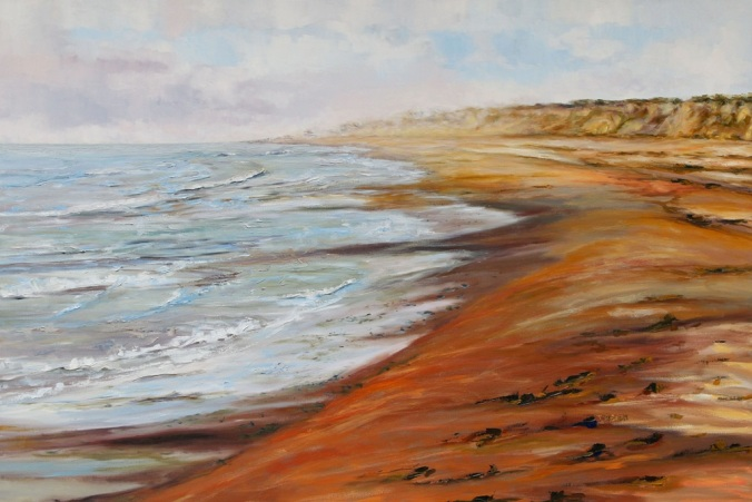 Blooming Point PEI a meditation on World Peace 40 x 60 inch oil on canvas by Canadian artist Terrill Welch August 10 2016 IMG_9055