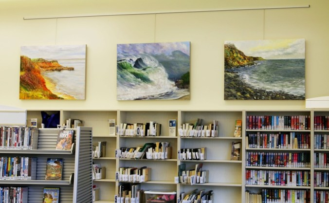 Seascapes by Canadian artist Terrill Welch at Emily Carr Branch of GV LibrarySept Oct 2016 IMG_9522